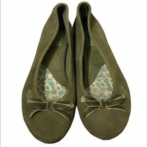 ROXY green leather/suede ballet flats in size 6